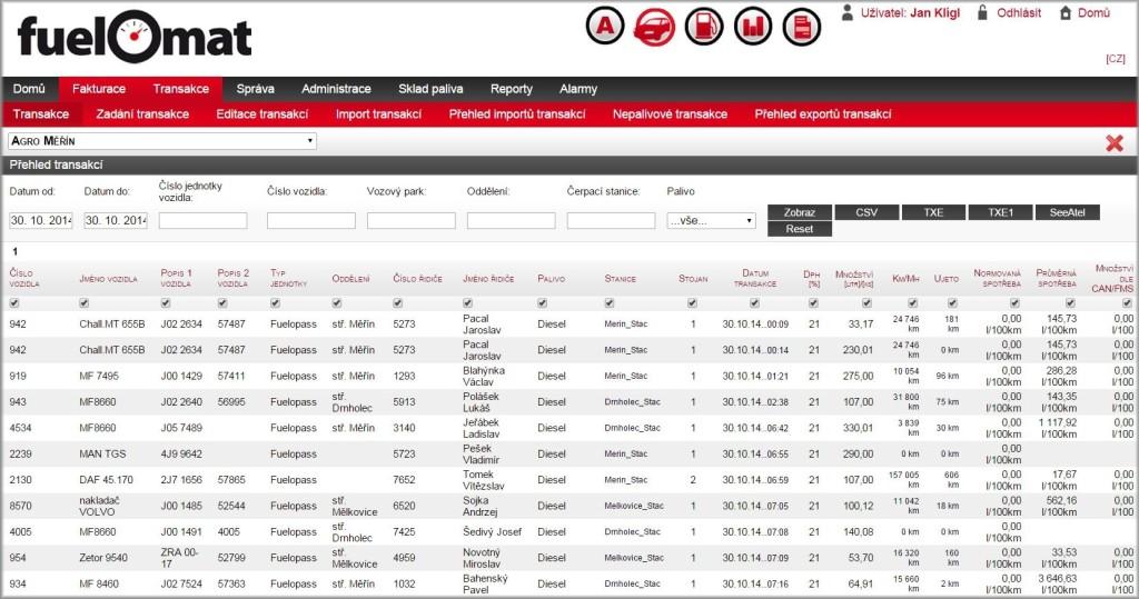 Systém FuelOmat umožňuje veškerou správu a fakturaci phm online.
